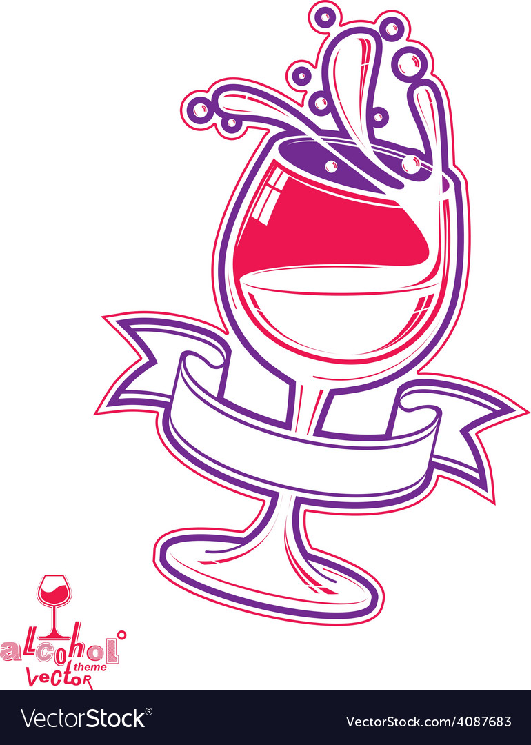Realistic 3d wineglass beverage vector | Price: 1 Credit (USD $1)