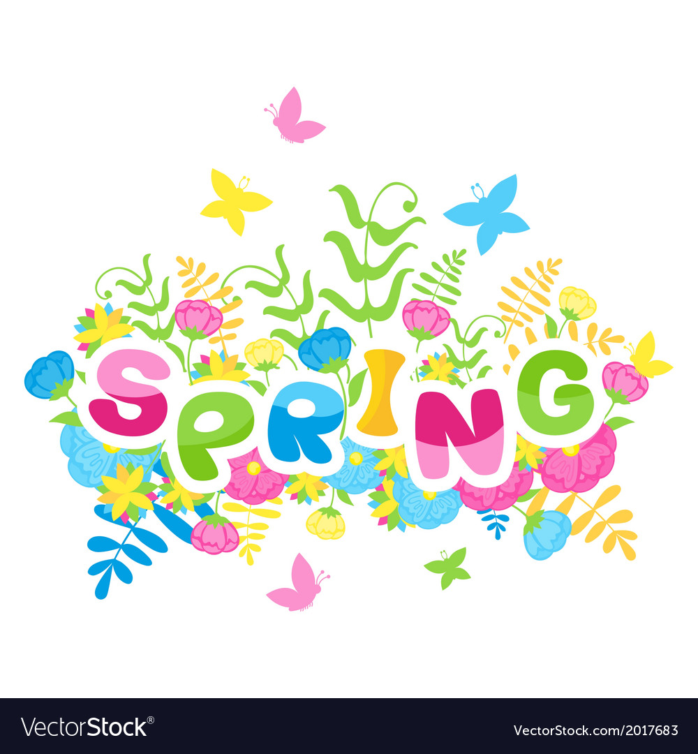 Spring inscription of colorful letters vector | Price: 1 Credit (USD $1)