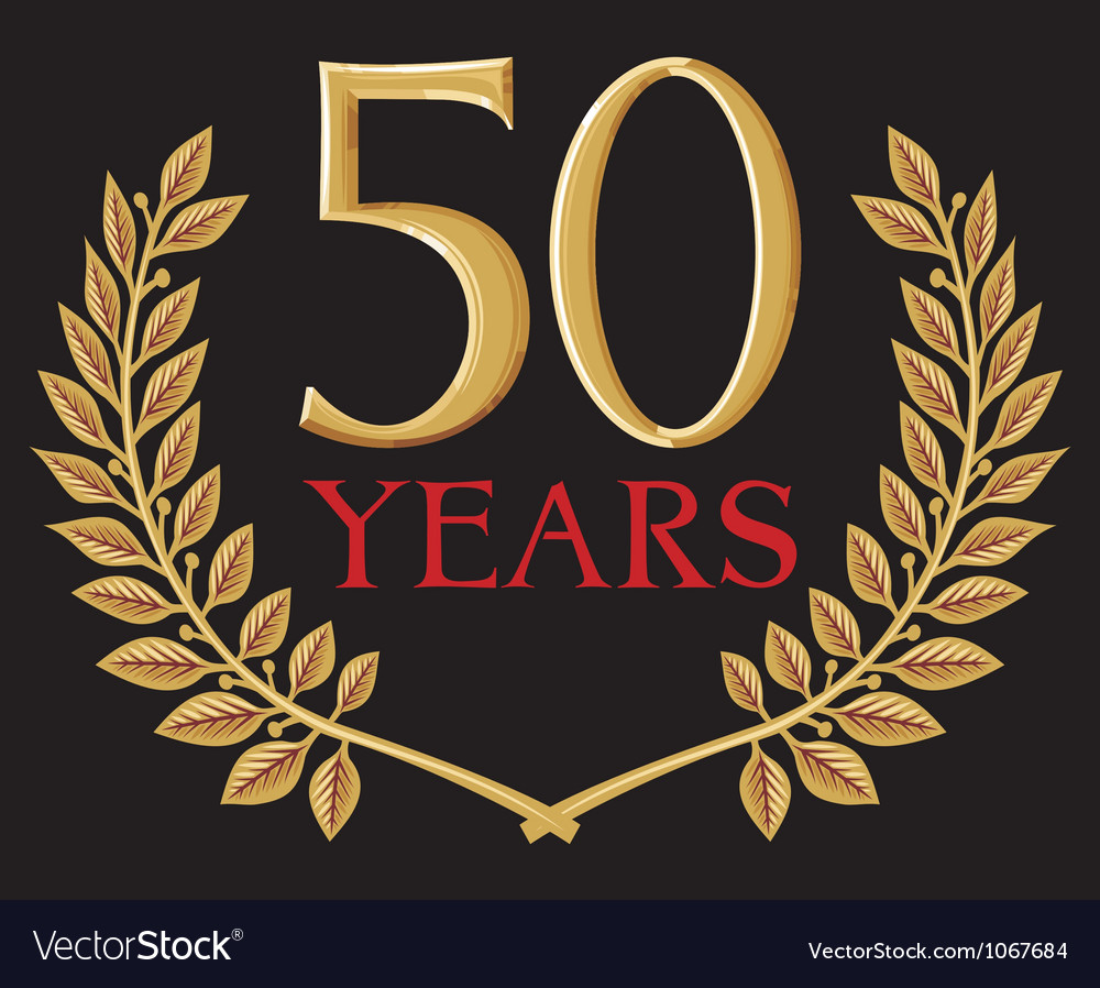 50 years anniversary and golden laurel wreath vector | Price: 1 Credit (USD $1)
