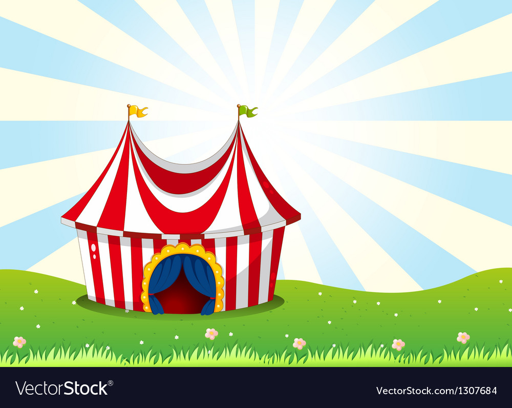 A circus tent at the top of the hill vector | Price: 1 Credit (USD $1)