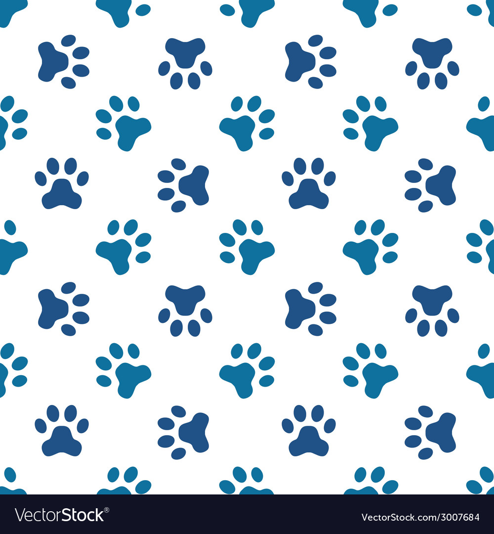 Blue pet or animal footprint seamless pattern vector | Price: 1 Credit (USD $1)