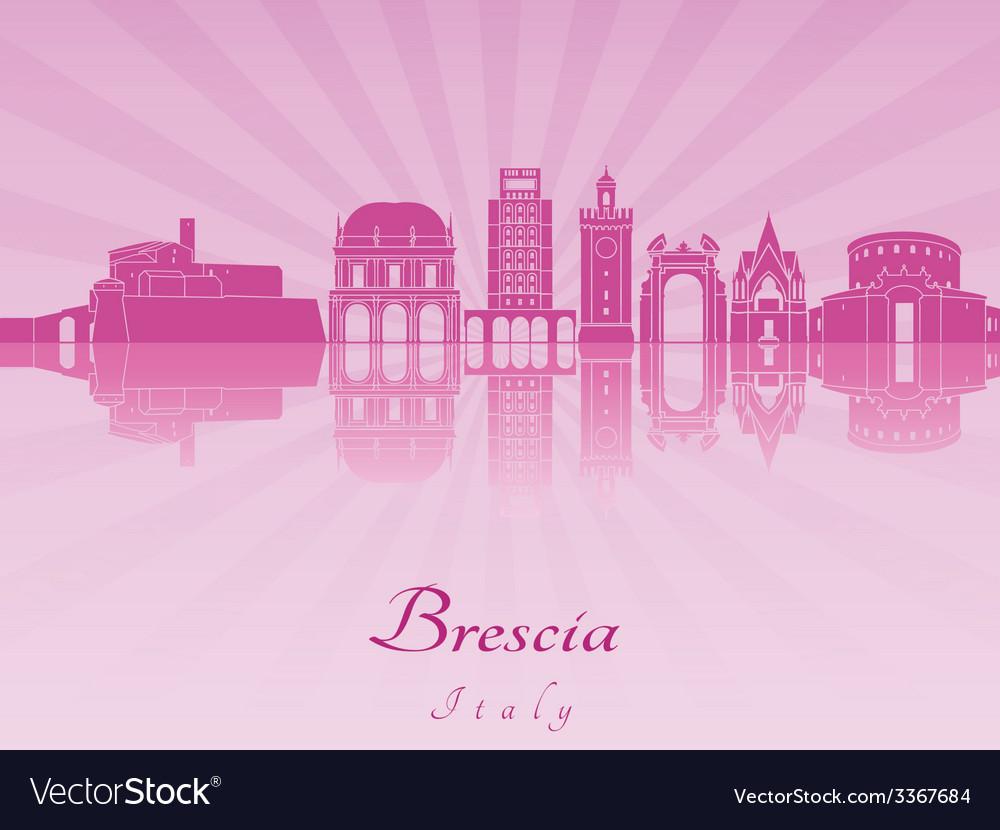 Brescia skyline in purple radiant orchid vector | Price: 1 Credit (USD $1)