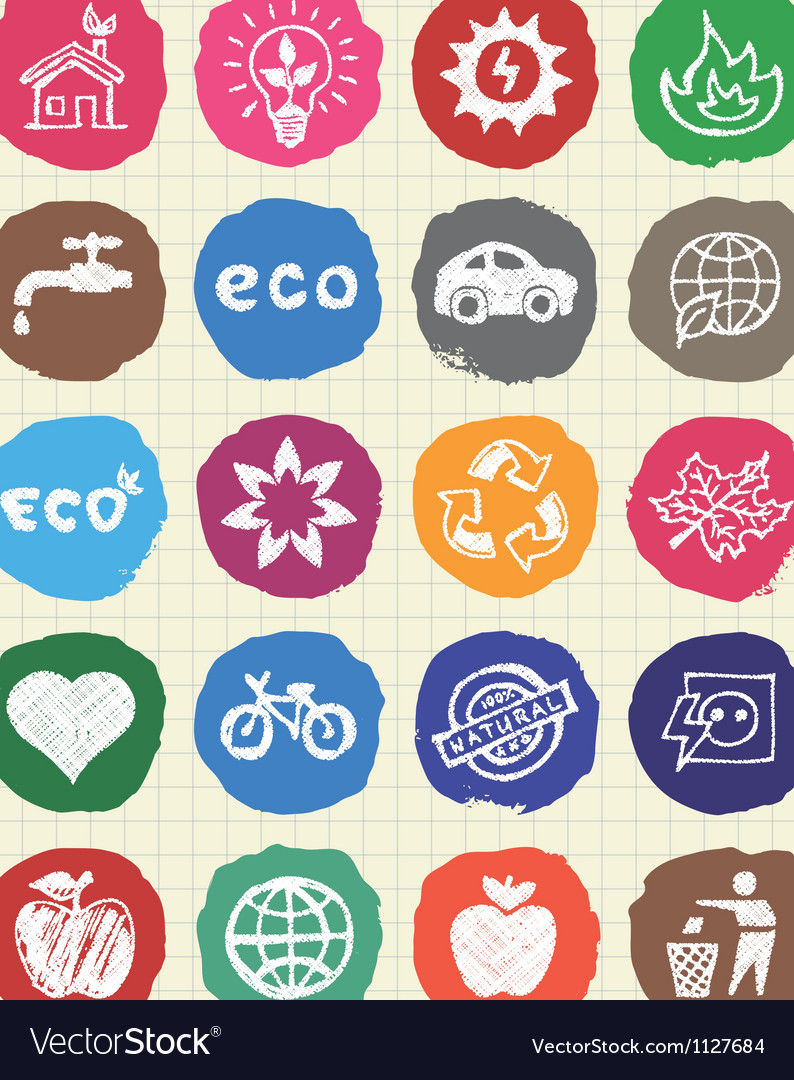 Eco elements and environment web icons set vector | Price: 1 Credit (USD $1)