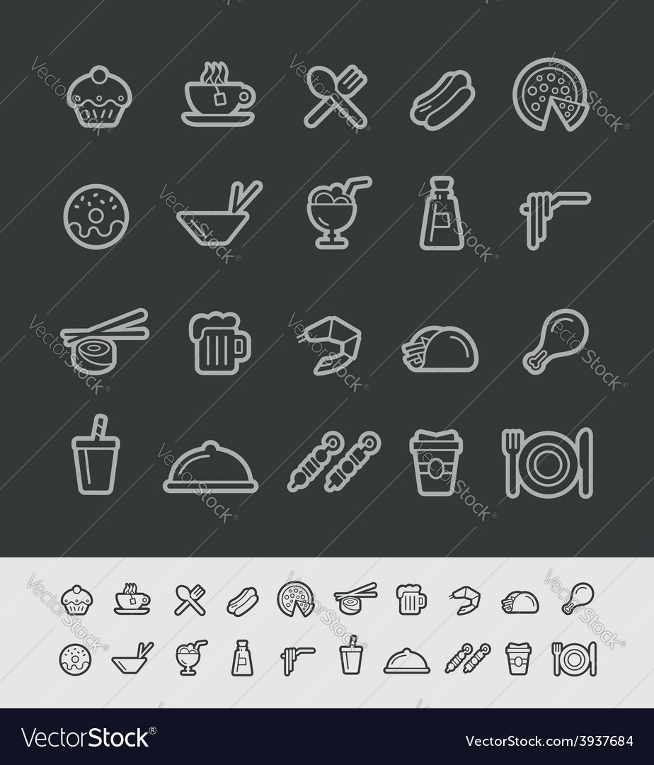Food and drink icons black background vector | Price: 1 Credit (USD $1)