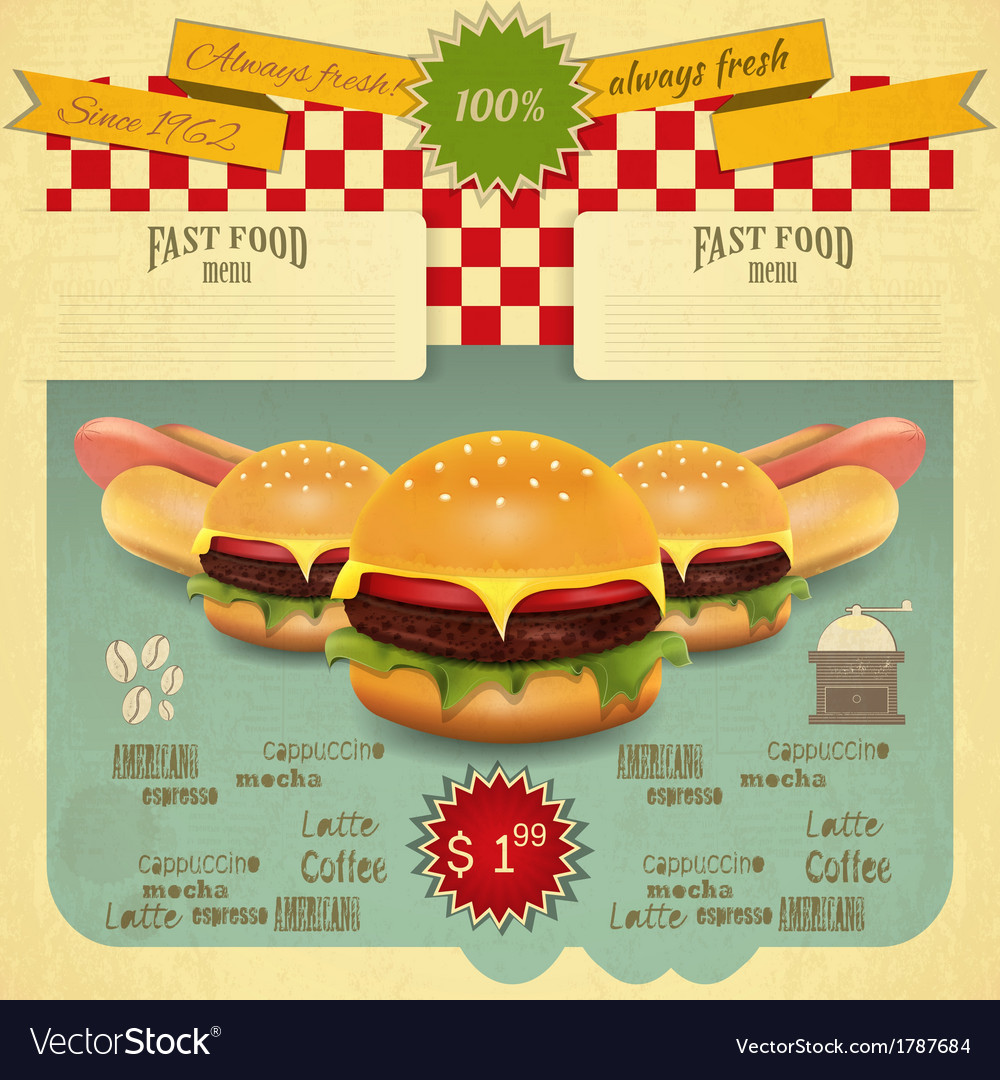 Hamburger and hot dogs vector | Price: 1 Credit (USD $1)