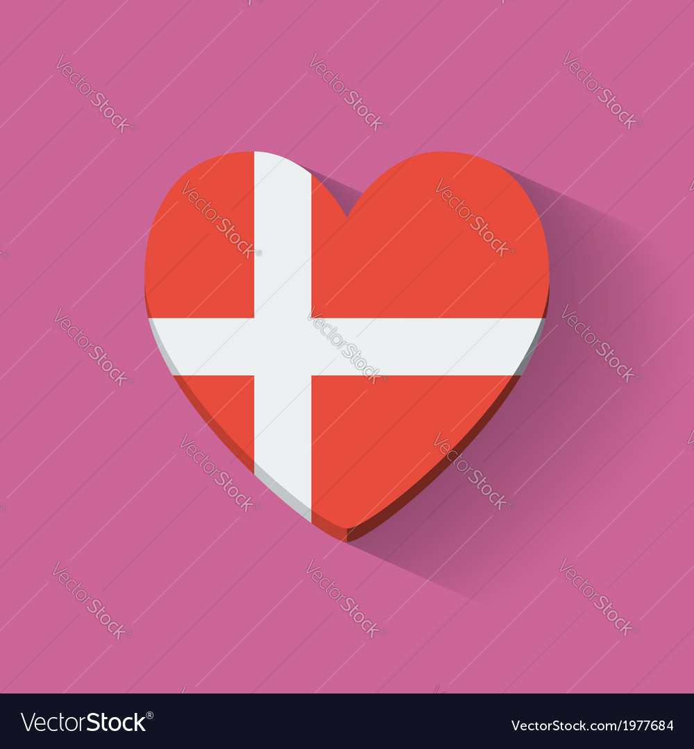 Heart-shaped icon with flag of denmark vector | Price: 1 Credit (USD $1)