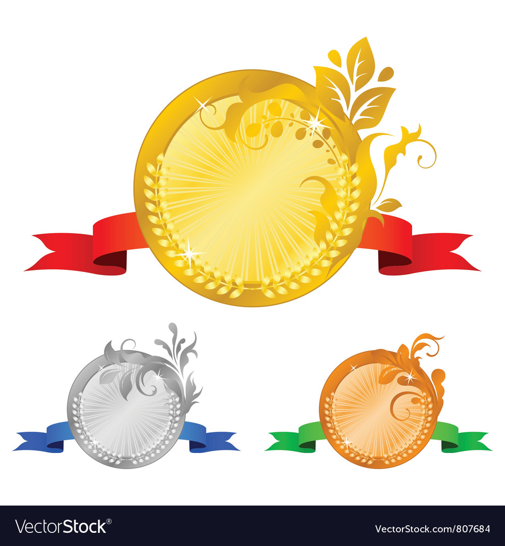 Medals set 4 floral decorations vector | Price: 1 Credit (USD $1)
