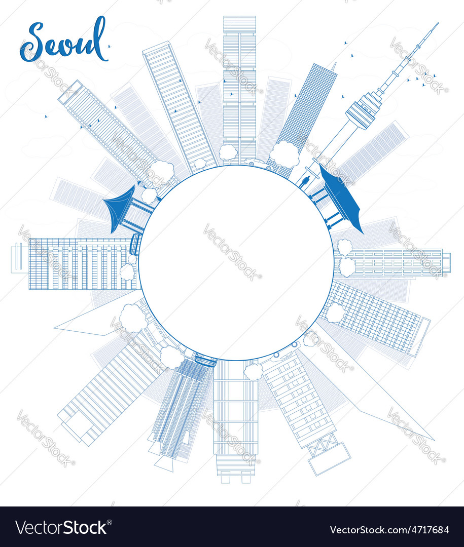 Outline seoul skyline with blue building vector | Price: 1 Credit (USD $1)