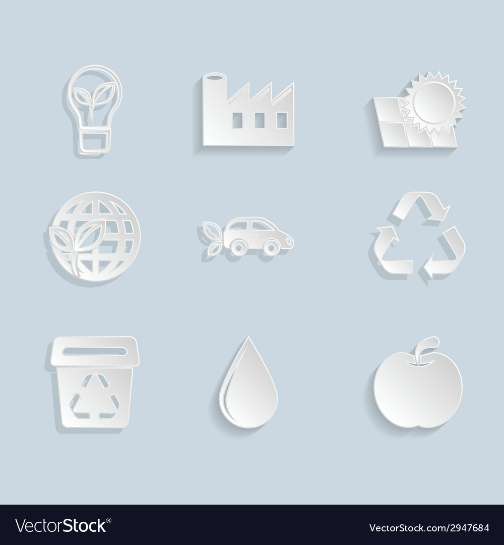 Paper ecology icons set vector | Price: 1 Credit (USD $1)