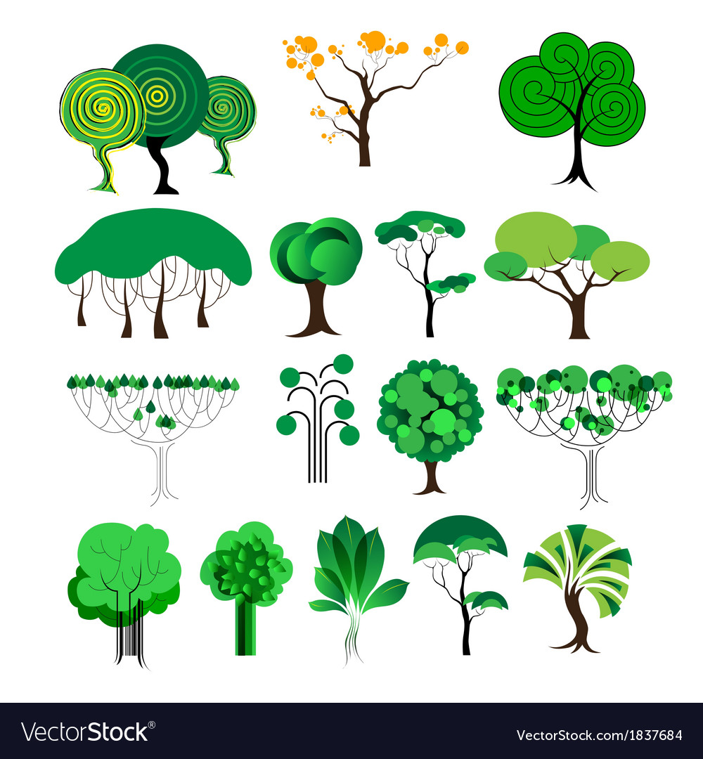 Set of decorative tree vector | Price: 1 Credit (USD $1)