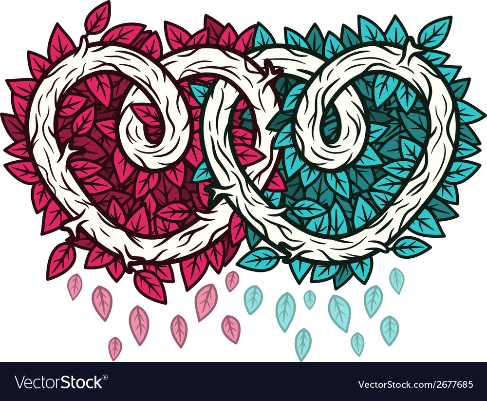 Abstract connected wooden hearts vector | Price: 1 Credit (USD $1)