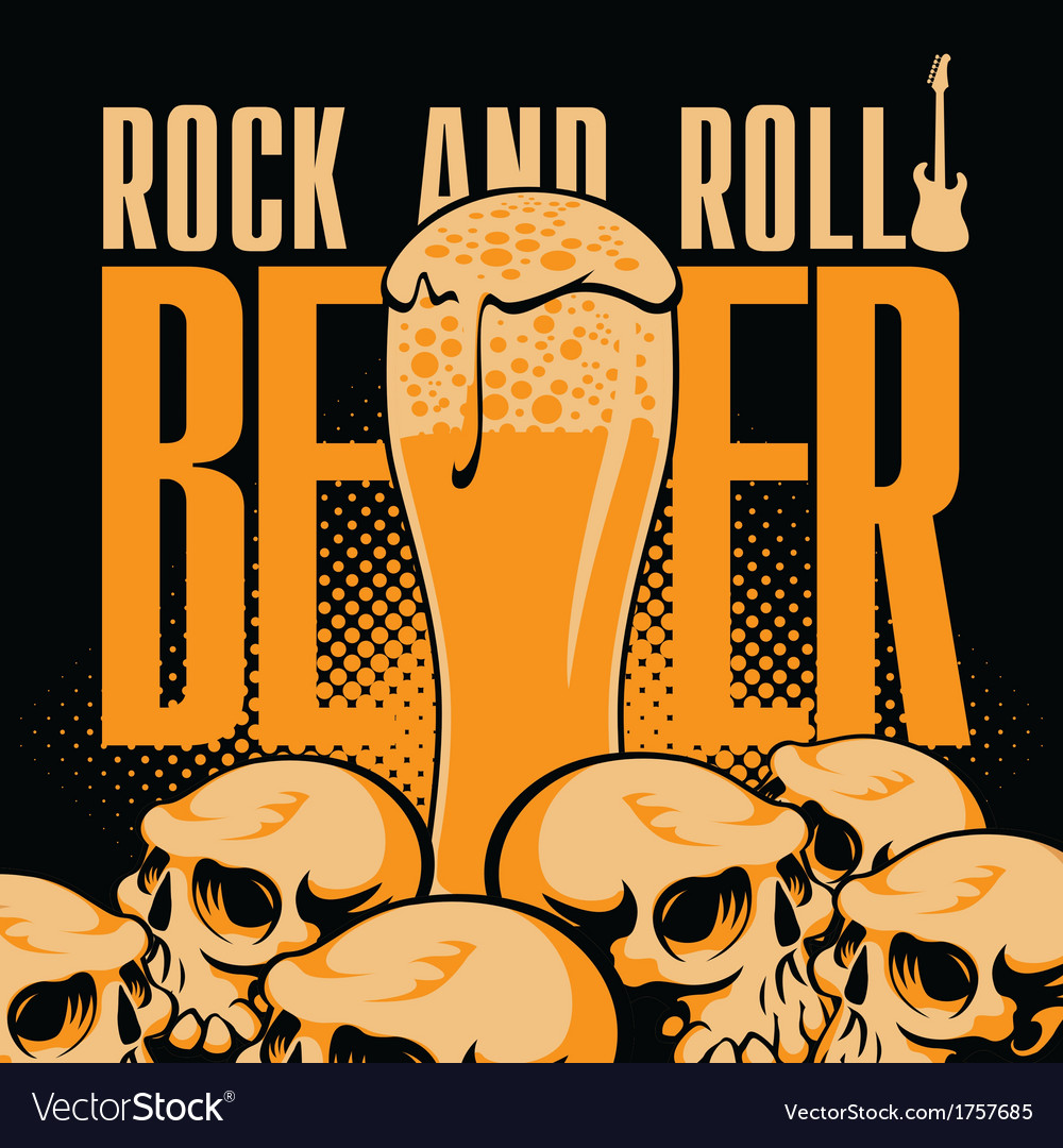 Beer and rock n roll vector | Price: 3 Credit (USD $3)