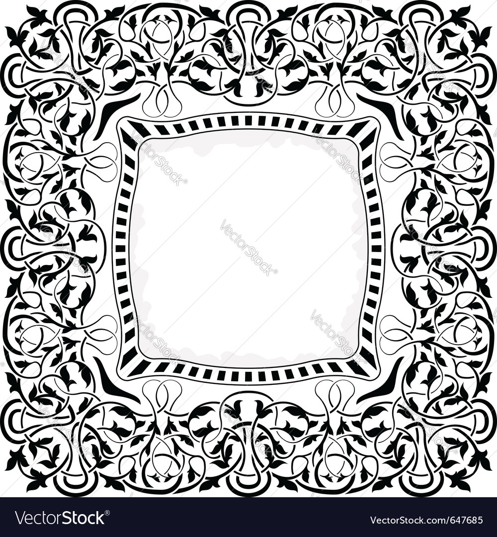 Black frame with ornamental border vector | Price: 1 Credit (USD $1)