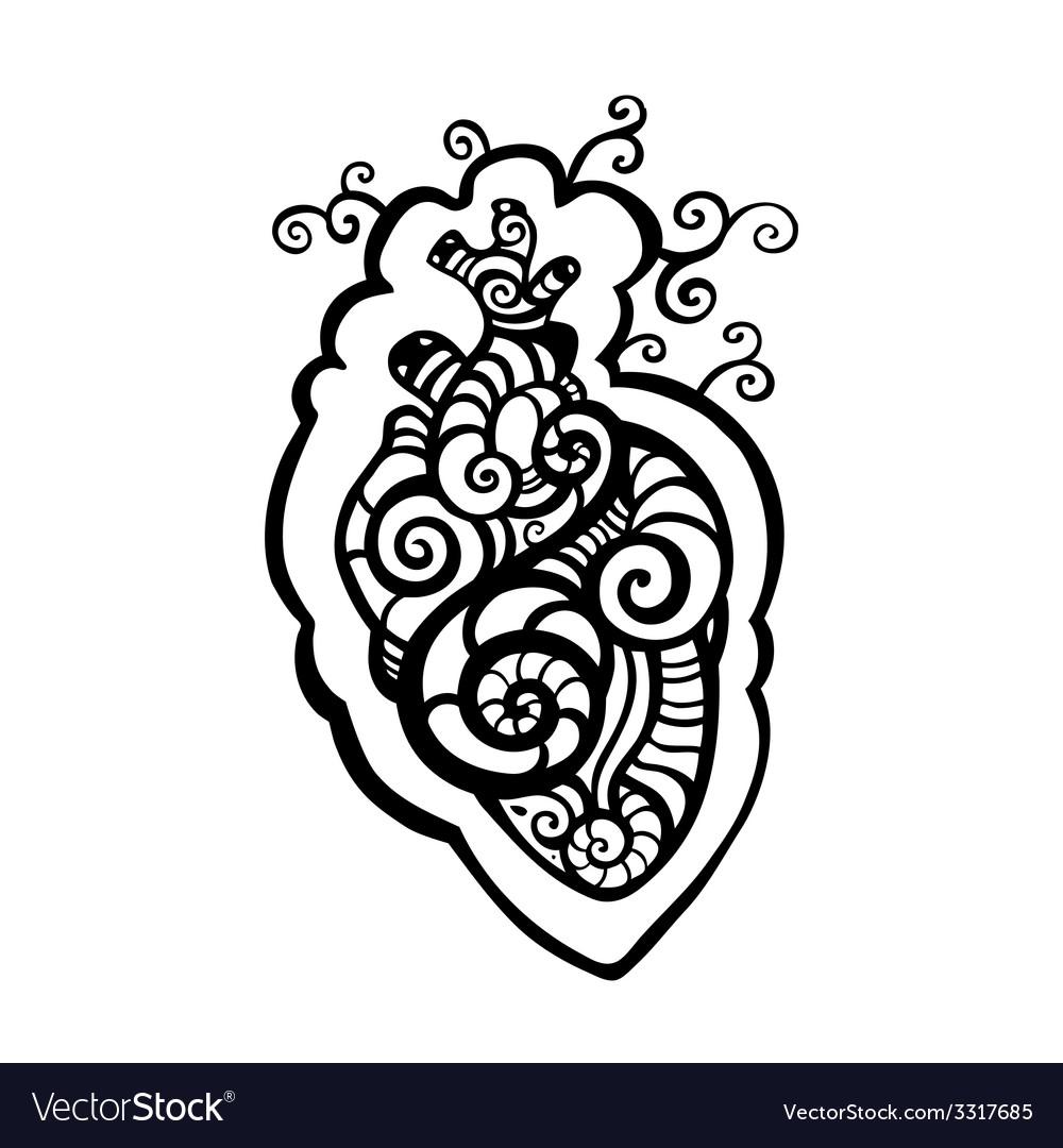 Decorative heart ethnic pattern vector | Price: 1 Credit (USD $1)
