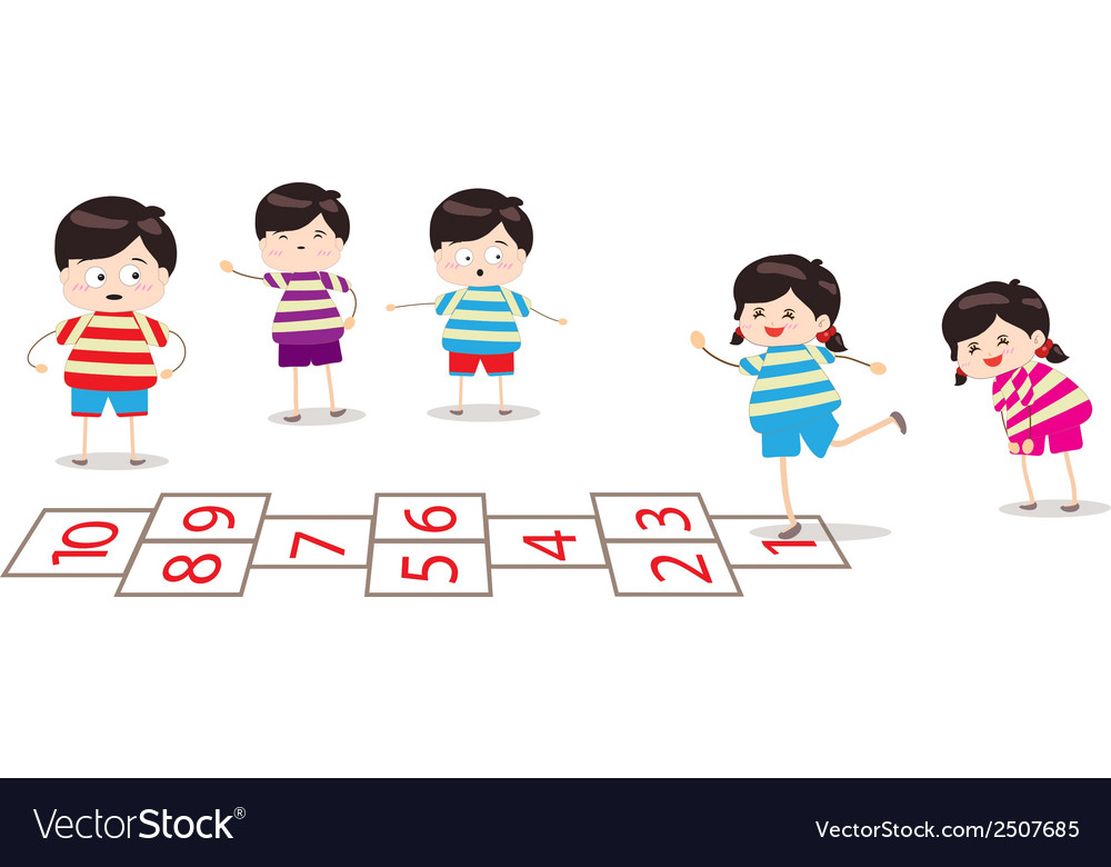 Kids playing hopscotch in a playground vector | Price: 1 Credit (USD $1)