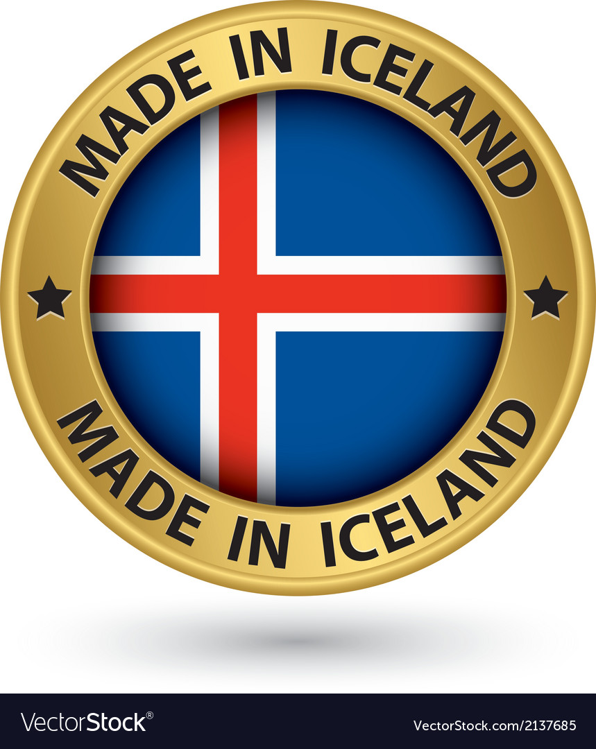 Made in iceland gold label with flag vector | Price: 1 Credit (USD $1)