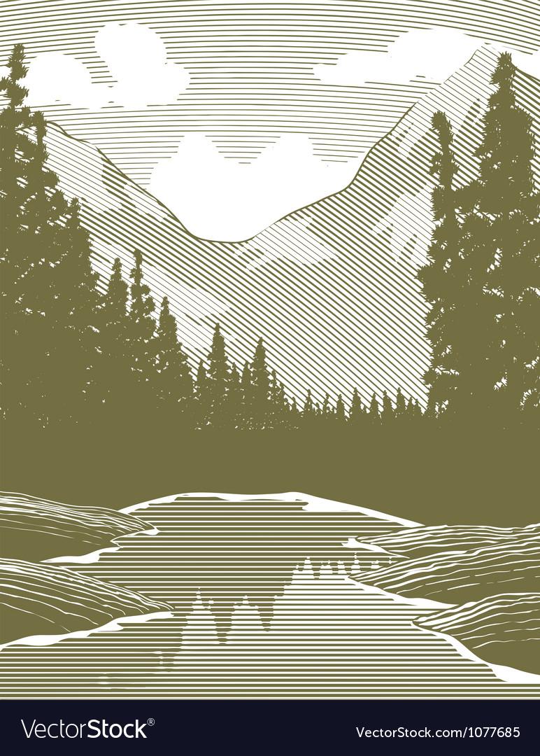 Woodcut wilderness river scene vector | Price: 1 Credit (USD $1)