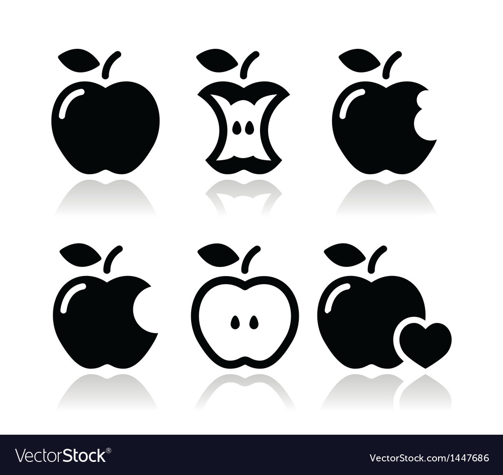 Apple apple core bitten half icons vector | Price: 1 Credit (USD $1)