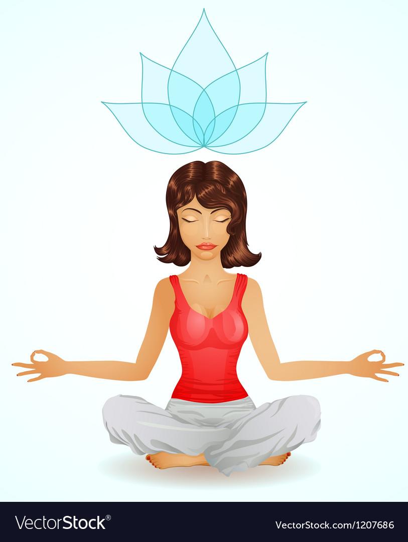 Beautiful brunette girl in meditation position vector | Price: 1 Credit (USD $1)