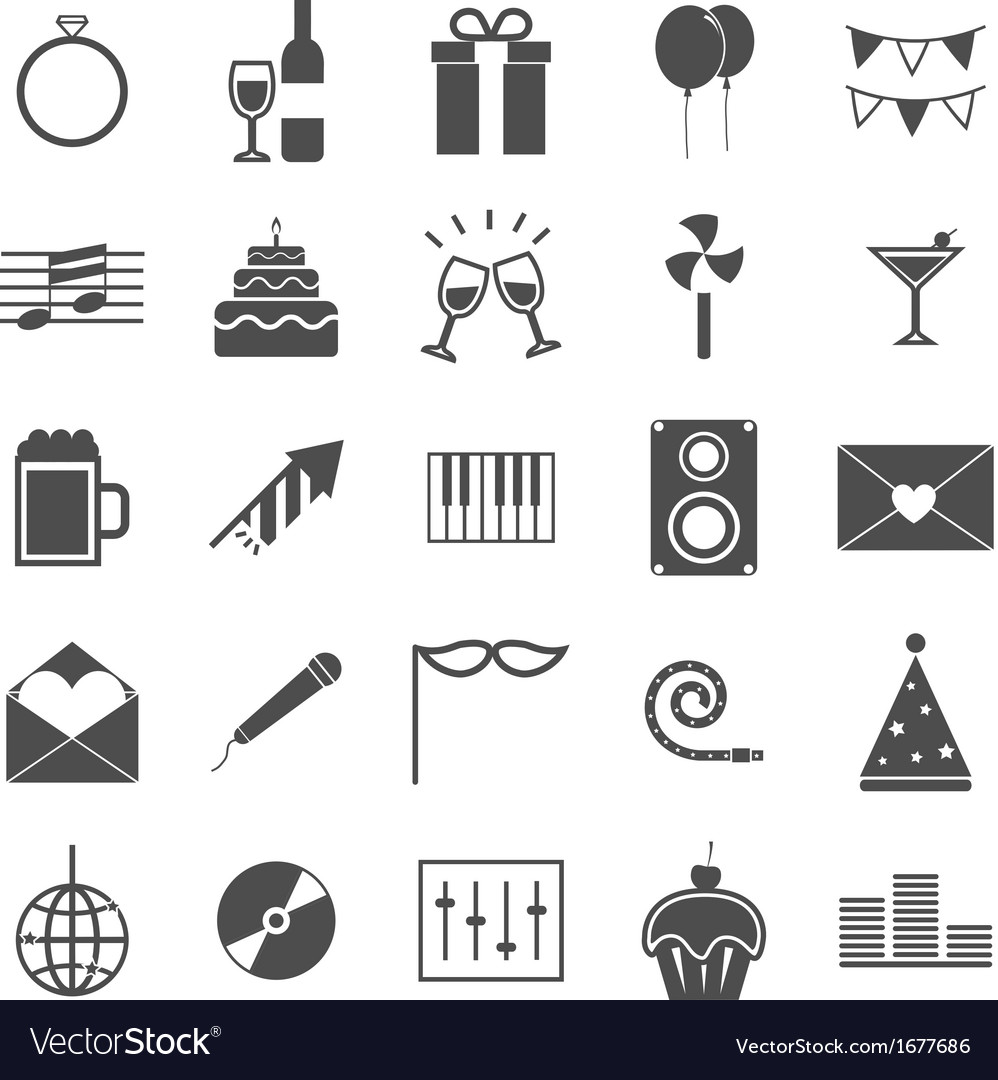 Celebration icons on white background vector | Price: 1 Credit (USD $1)