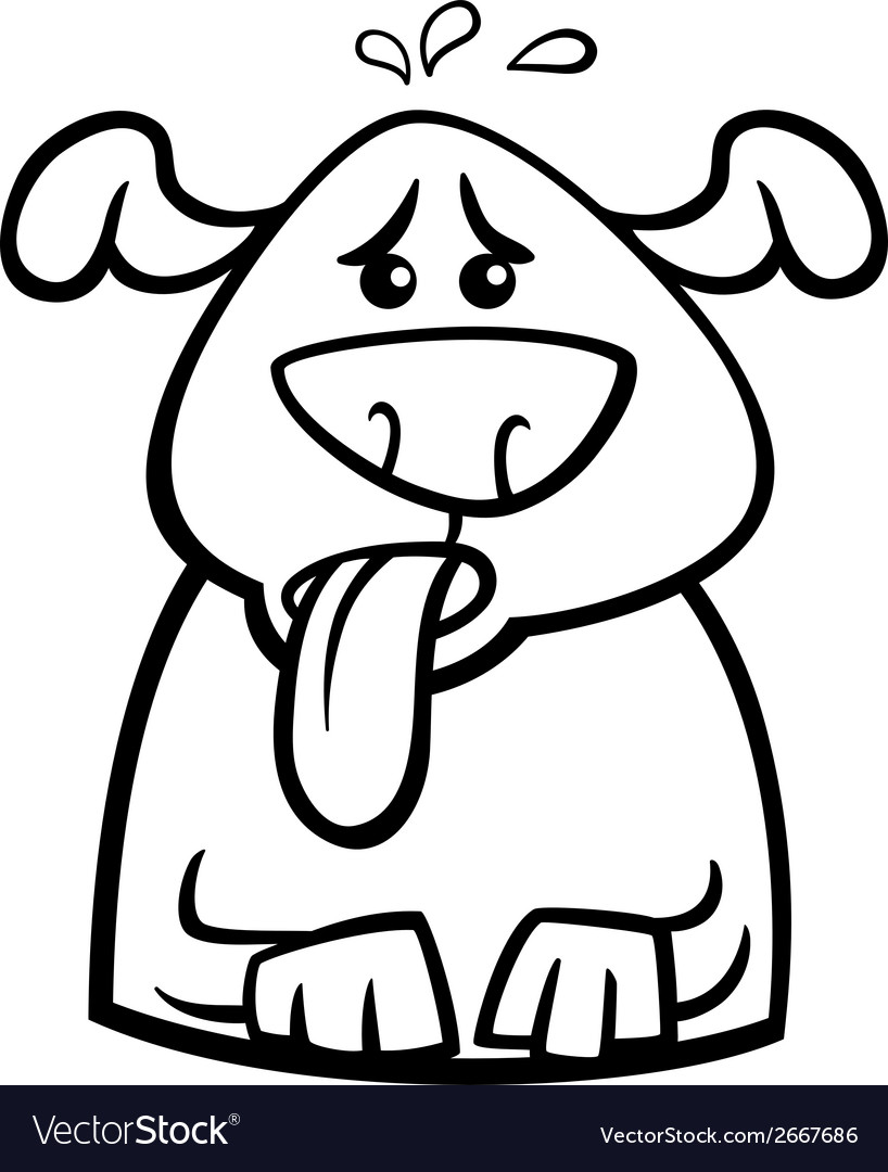 Dog in heat cartoon coloring page vector | Price: 1 Credit (USD $1)