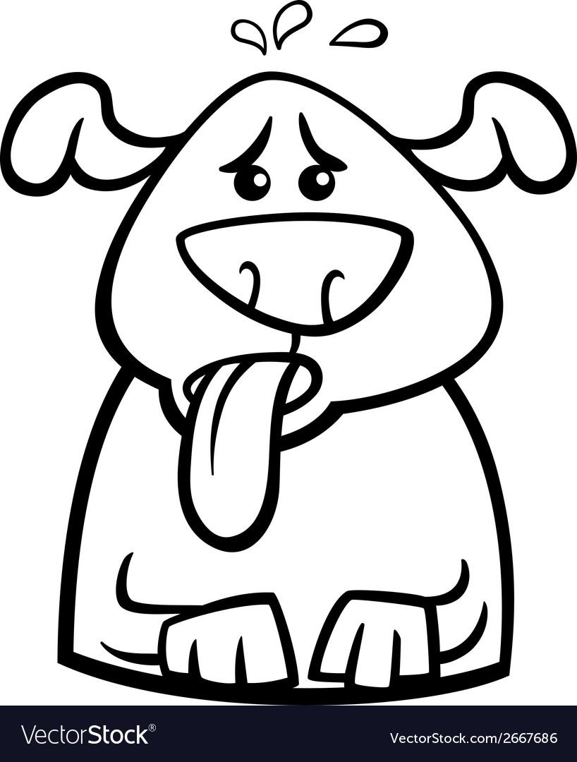Dog in heat cartoon coloring page vector | Price: 1 Credit (USD $1)