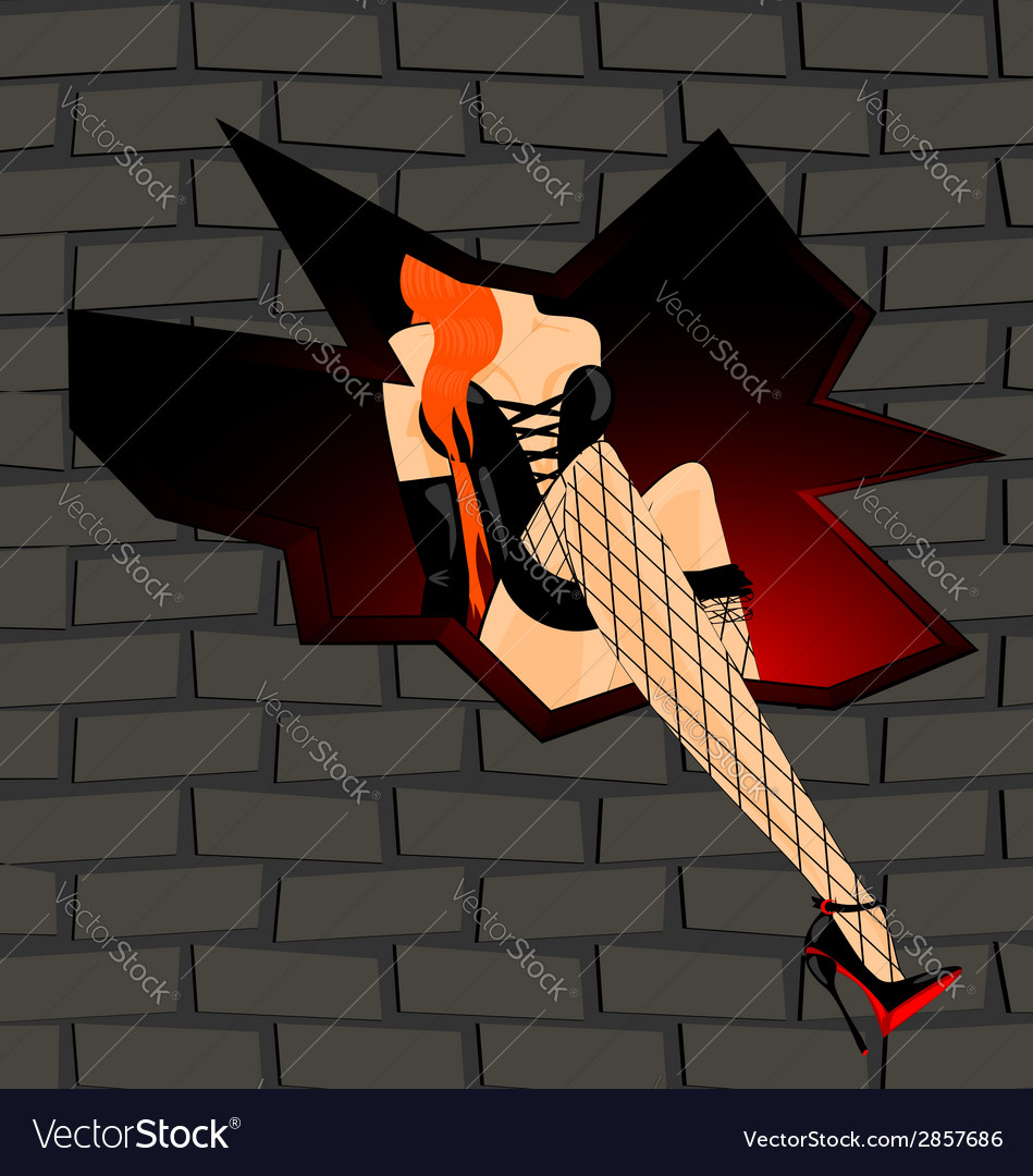 Erotic girl in black and the wall vector | Price: 1 Credit (USD $1)