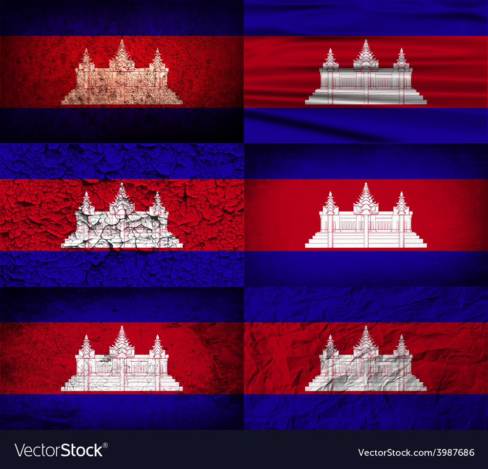 Flag of cambodia with old texture vector | Price: 1 Credit (USD $1)