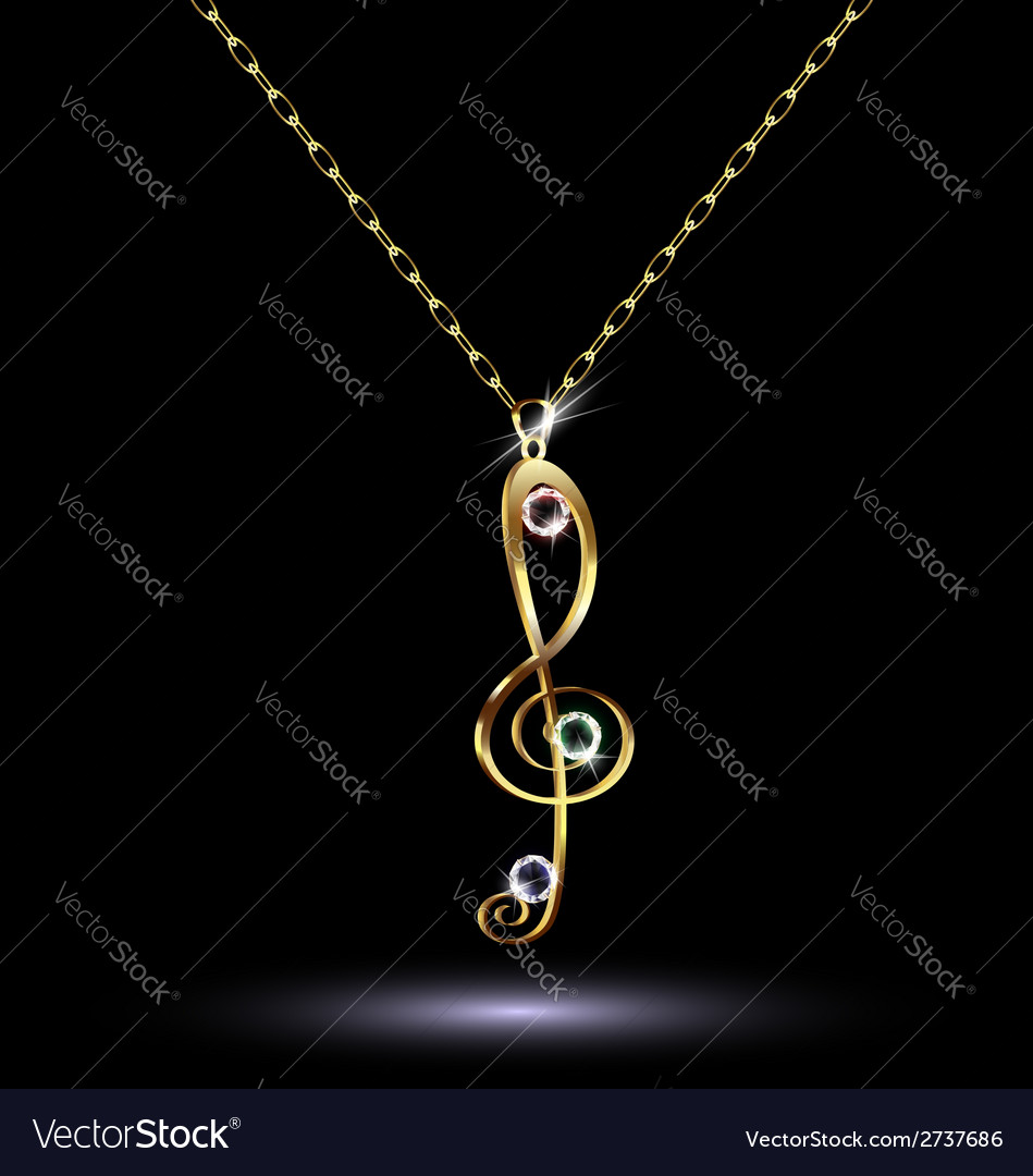 Pendant with a treble clef vector | Price: 1 Credit (USD $1)