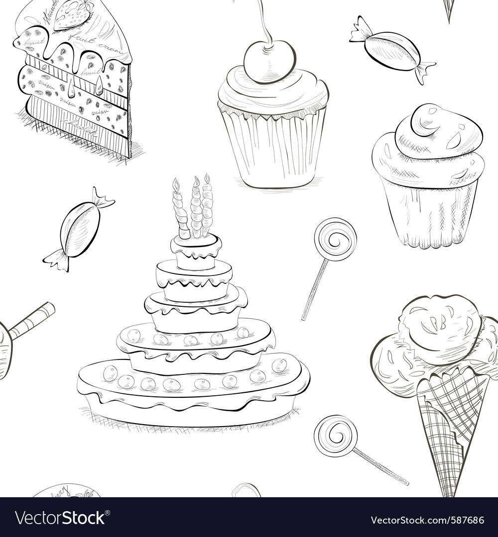 Seamless sweet sketch vector | Price: 1 Credit (USD $1)