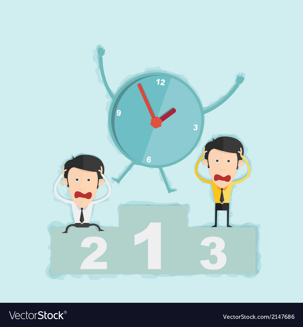 Time management concept win business man on podium vector | Price: 1 Credit (USD $1)