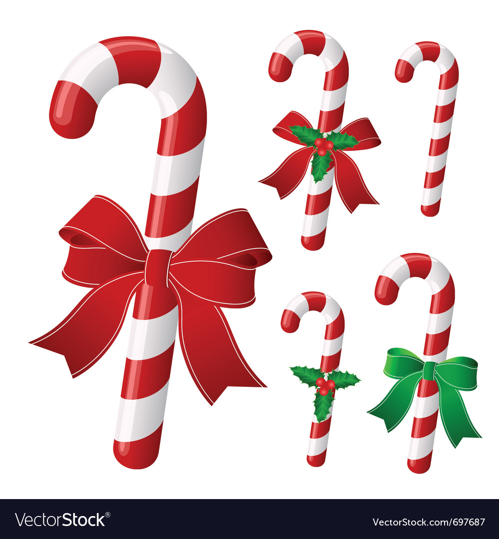 Candy cane collection with ribbon and holly vector | Price: 1 Credit (USD $1)