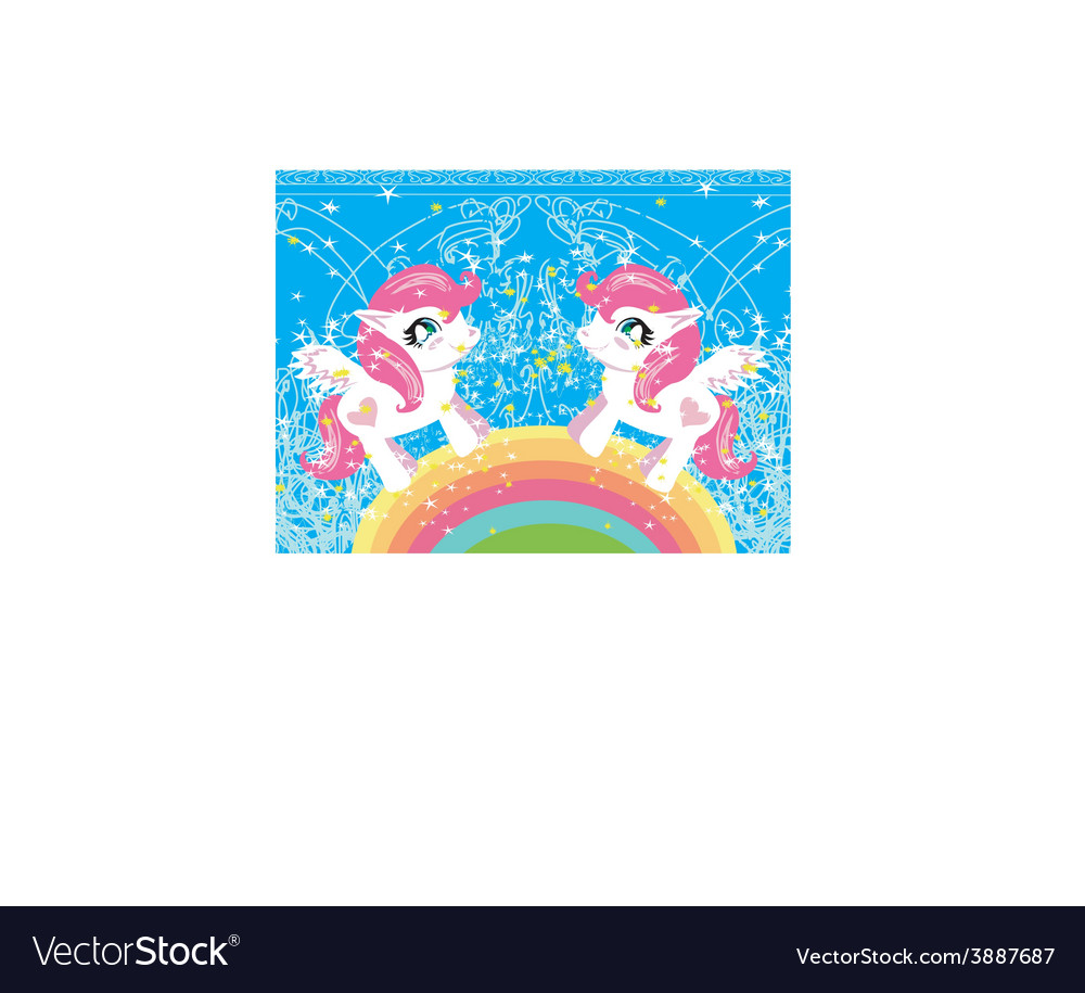 Card with a cute unicorns and rainbow vector | Price: 1 Credit (USD $1)