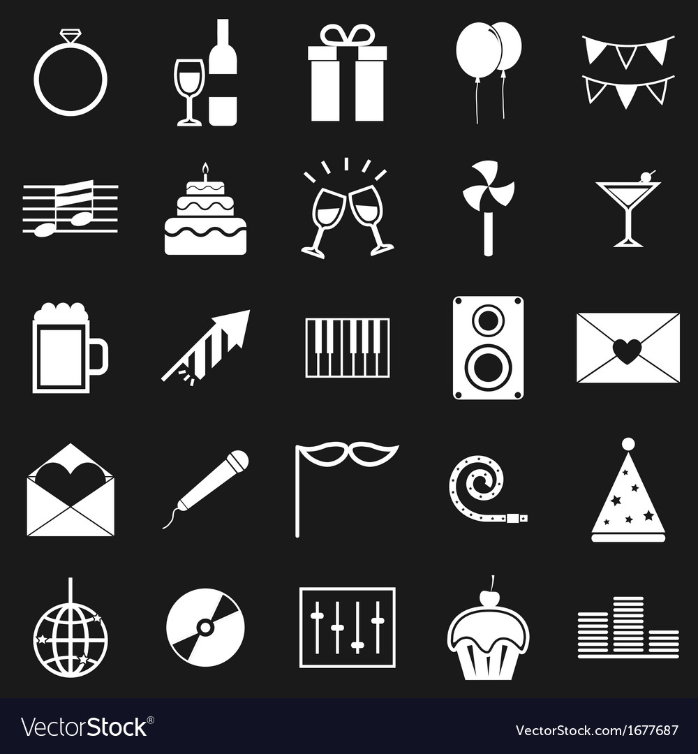 Celebration icons on black background vector | Price: 1 Credit (USD $1)