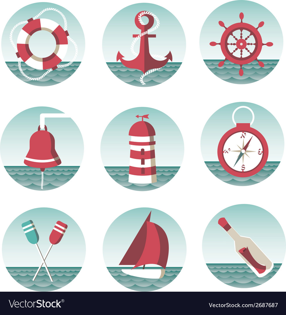 Icons on the marine theme vector | Price: 1 Credit (USD $1)