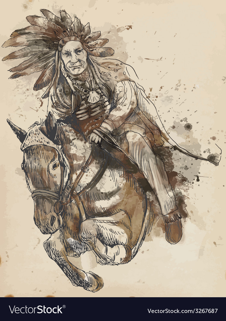 Indian chief riding a horse vector | Price: 1 Credit (USD $1)