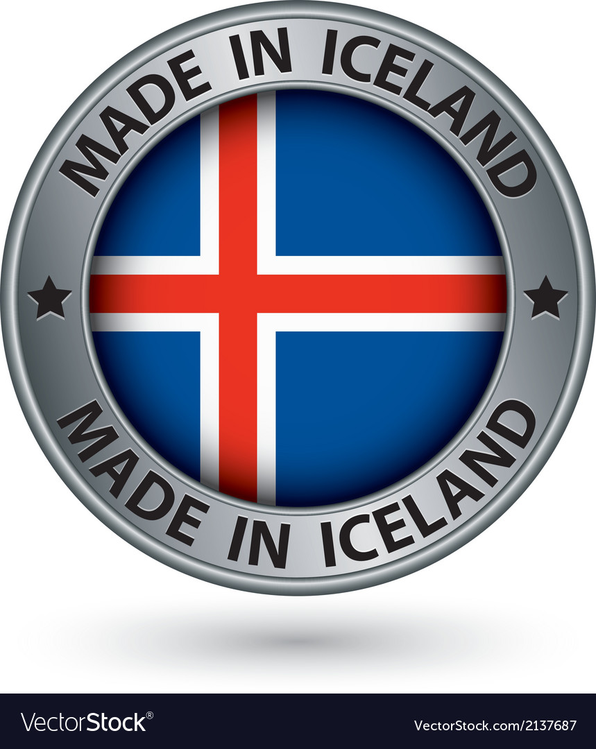 Made in iceland silver label with flag vector | Price: 1 Credit (USD $1)