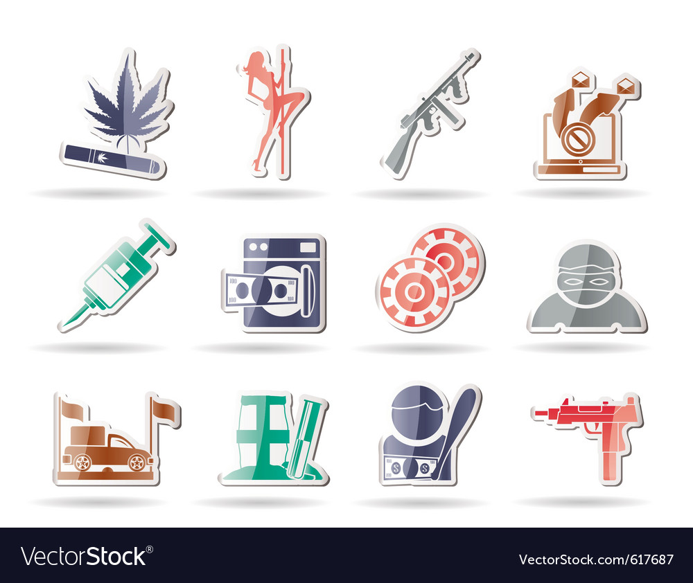 Mafia and organized criminality activity icons vector | Price: 1 Credit (USD $1)