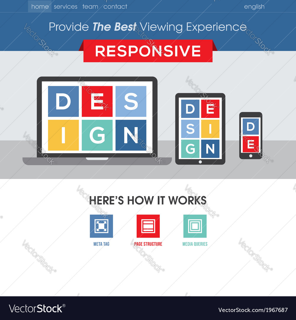 Responsive design website template vector | Price: 1 Credit (USD $1)
