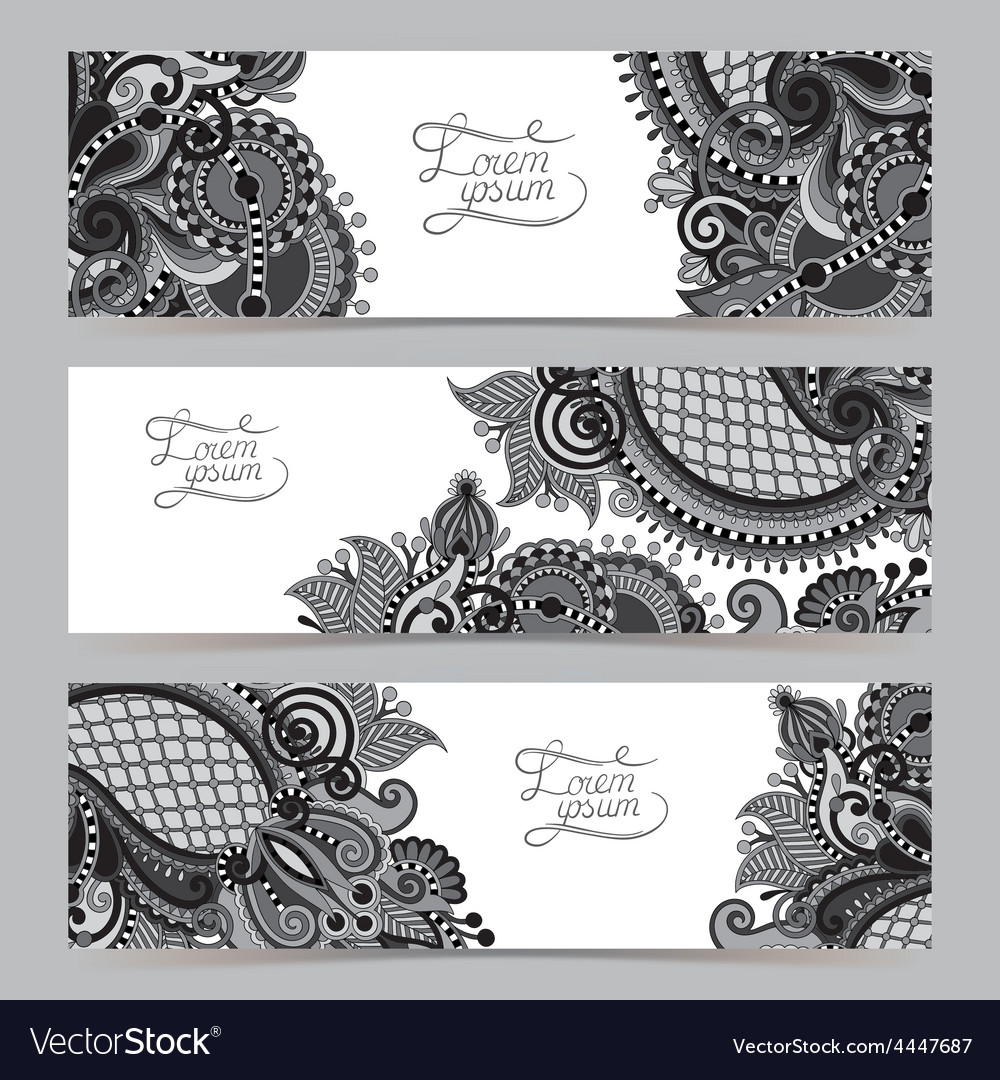 Set of three grey horizontal banners with vector | Price: 1 Credit (USD $1)