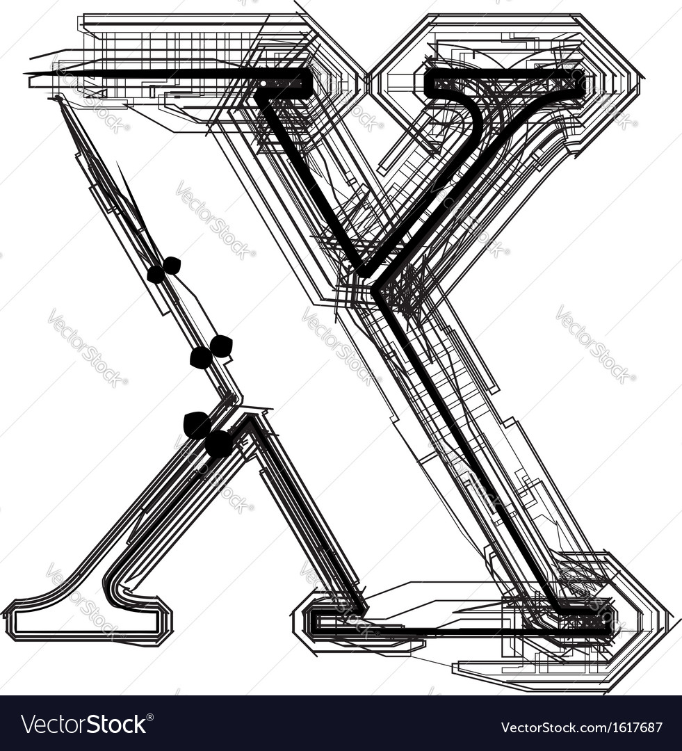 Technical typography letter x vector | Price: 1 Credit (USD $1)