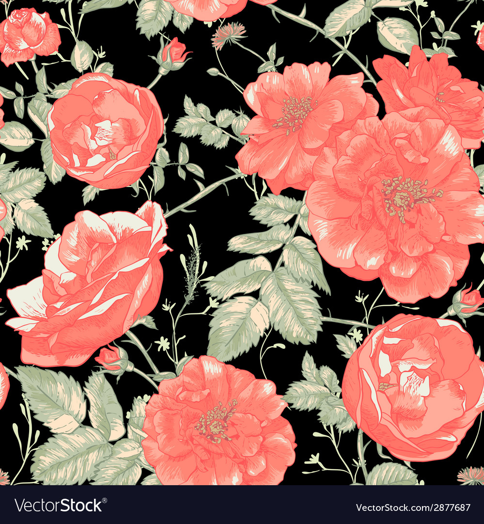 Vintage seamless romantic roses background vector | Price: 1 Credit (USD $1)