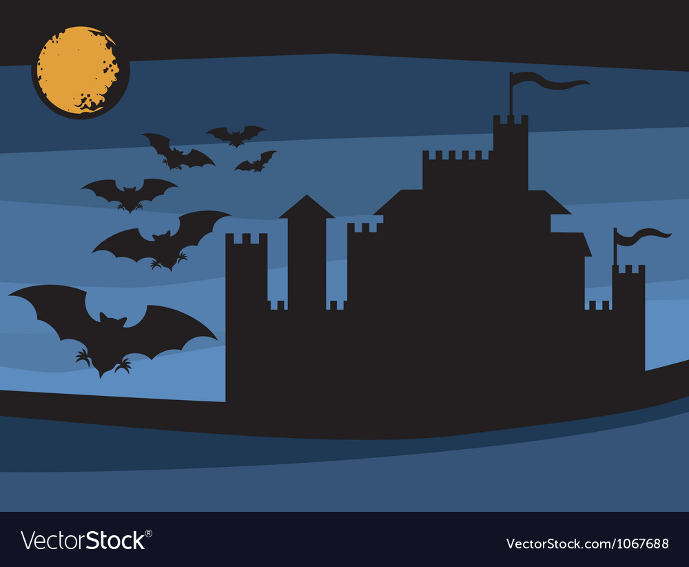 Bats flying in the moonlight and old castle vector | Price: 1 Credit (USD $1)