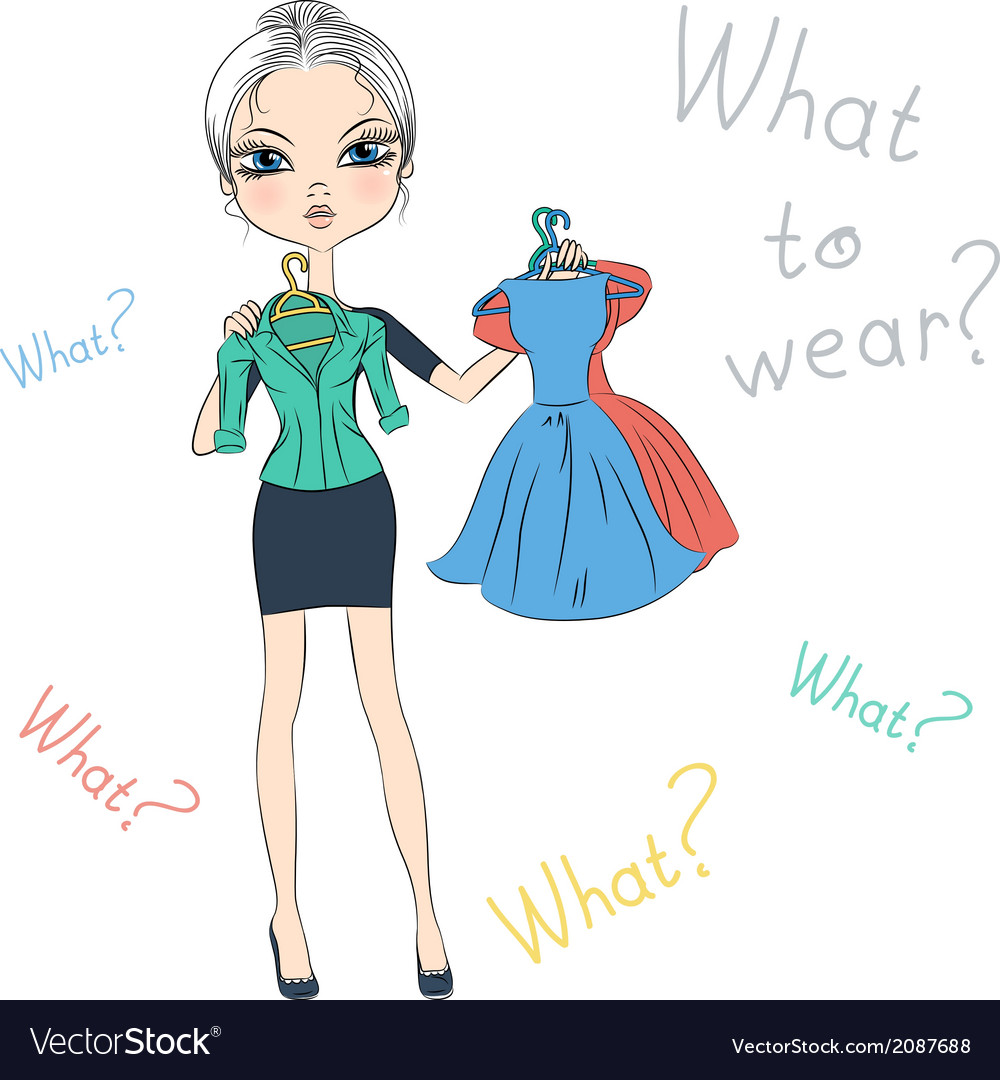 Beautiful serious fashion girl trying on dresses vector | Price: 1 Credit (USD $1)