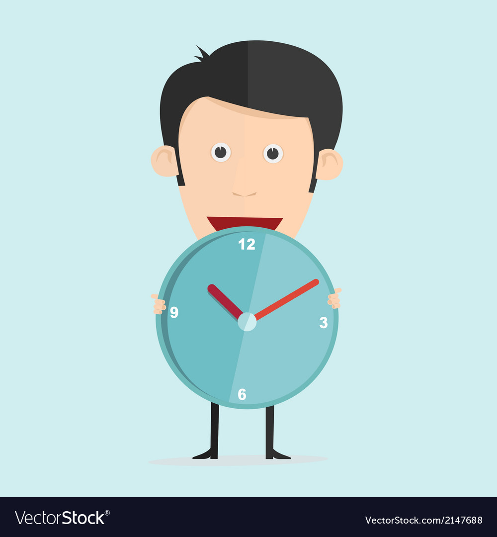 Cartoon with clock in flat design vector | Price: 1 Credit (USD $1)