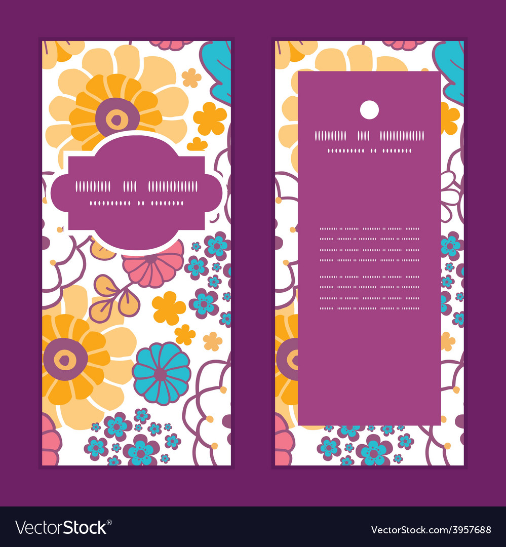 Colorful oriental flowers vertical frame vector | Price: 1 Credit (USD $1)