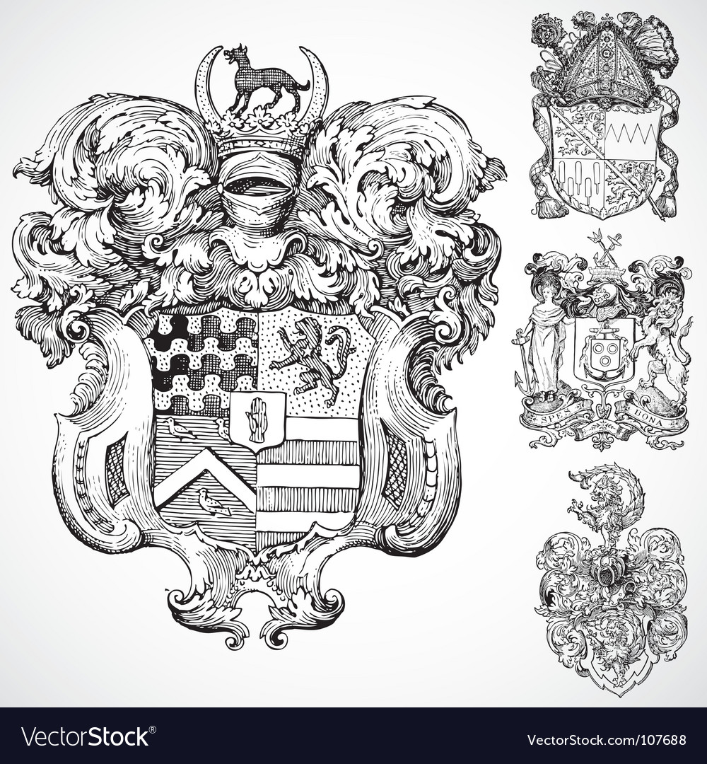 Gothic coat of arms ornaments vector | Price: 1 Credit (USD $1)