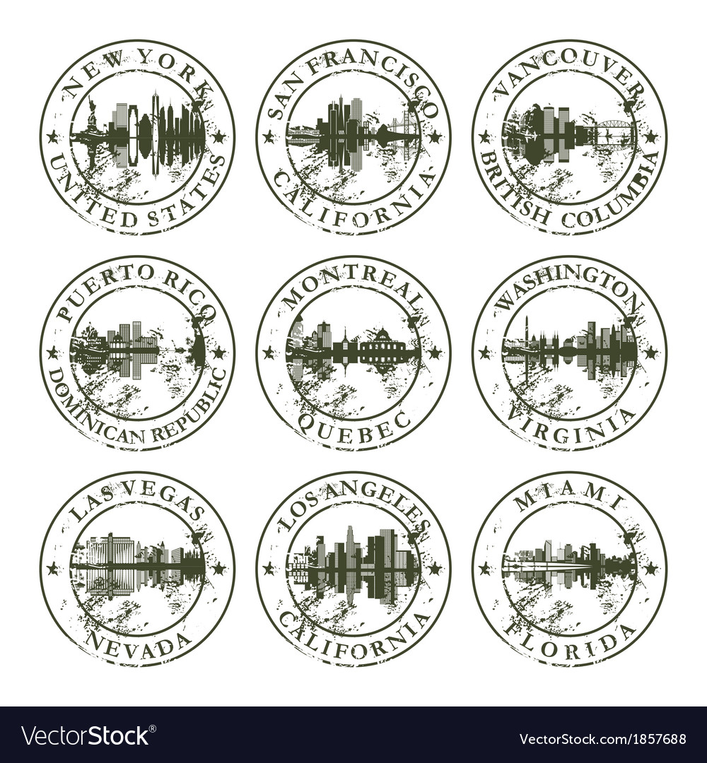 Grunge rubber stamps with new york san francisco vector | Price: 1 Credit (USD $1)