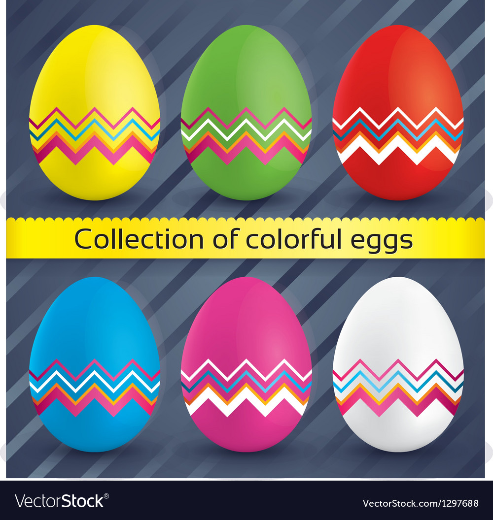 Happy easter colorful eggs collection vector | Price: 1 Credit (USD $1)