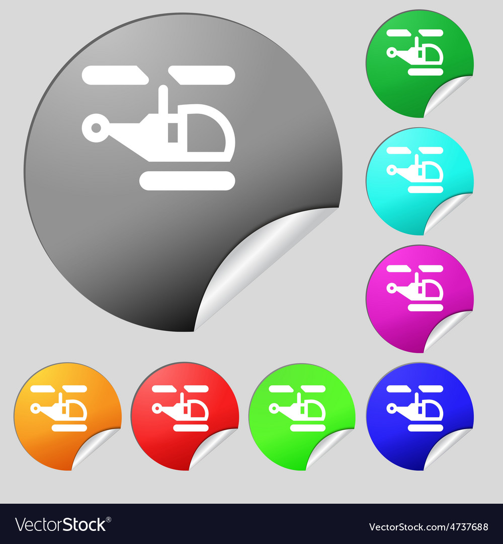 Helicopter icon sign set of eight multi-colored vector | Price: 1 Credit (USD $1)